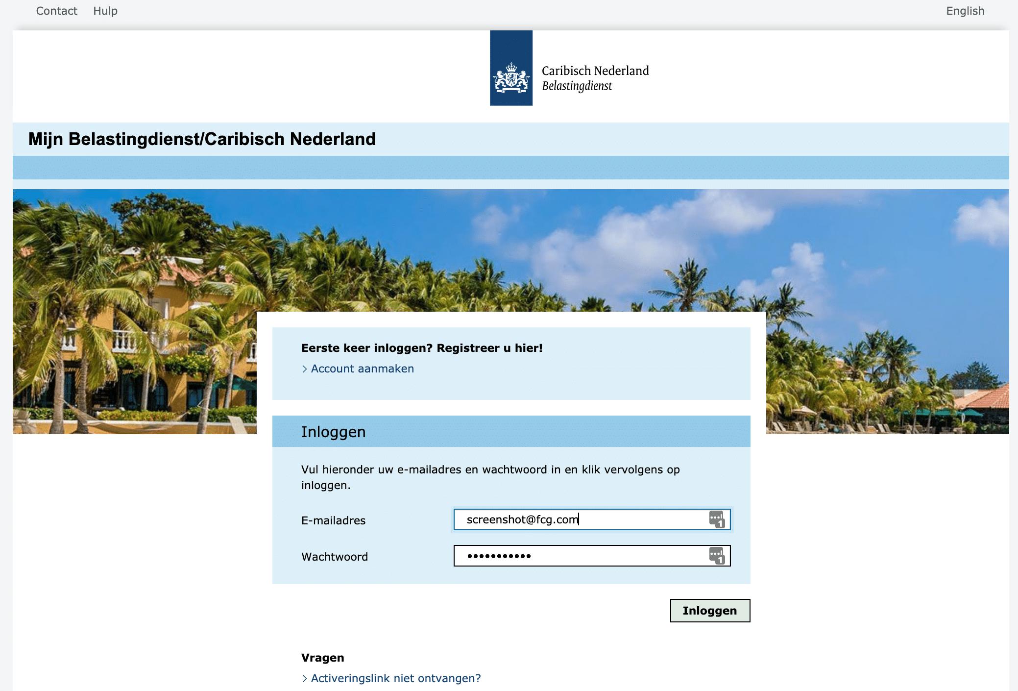 Online tax filing tax office Bonaire